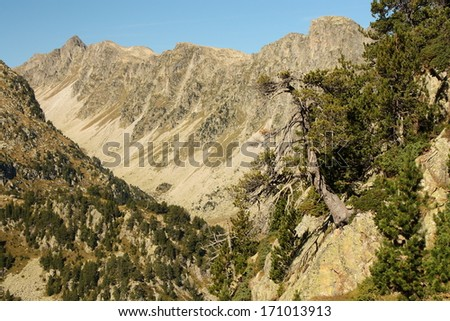 mountain ridge in Posets-Maladeta natural park, Spain - stock photo