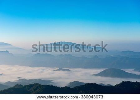 mountain ridge with mist morning, Beautiful mountain ridge for hiking at Doi Tu Lay (Mon Tu Lay) , Tak province Thailand - stock photo