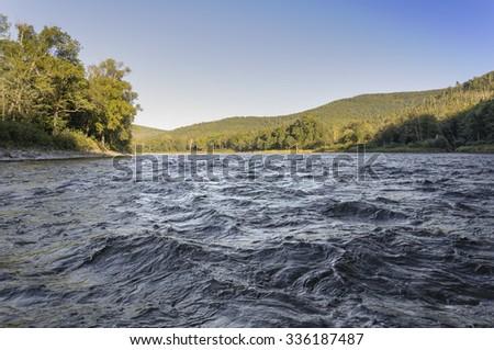 Mountain River Anuy .  Mountain River in the northeast of Khabarovsk Krai , Russia . - stock photo