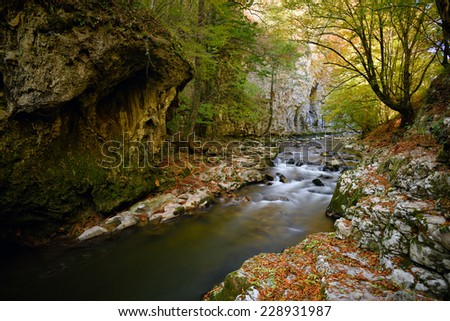 mountain river in Romania, long exposure image - stock photo