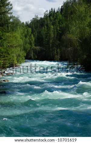 Mountain river Kucherla, Altai - stock photo