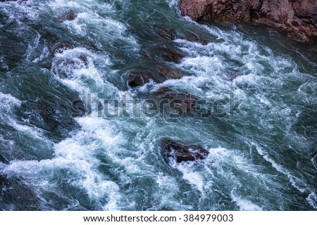 Mountain River, Rushing Water Flowing Texture, clear mountain stream, torrent in the river gorge - stock photo