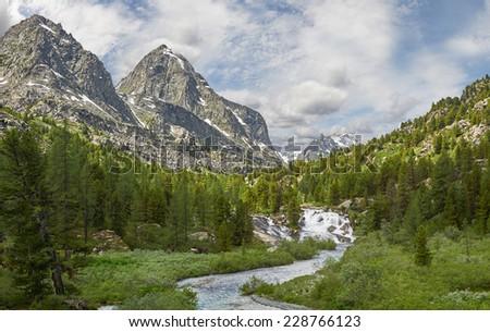 Mountain river, Russia West Siberia, Altai mountains, Katun ridge. - stock photo