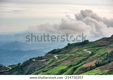 Mountain road at ( phu tubberk) in Phu Hin Rong Kla National Park Phetchabun Province Asia Thailand - stock photo