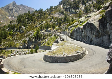 mountain road in French Pyrenees - stock photo