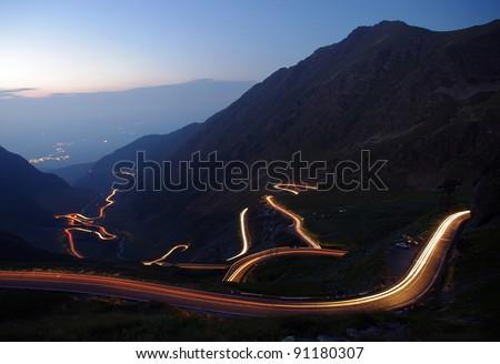 mountain road in night, Romanian Carpathians, Transfagarasan - stock photo
