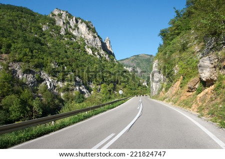 mountain road in Serbia on the border with Montenegro - stock photo