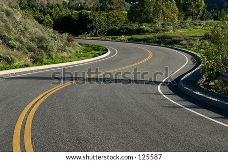 Mountain Road in the morning - stock photo