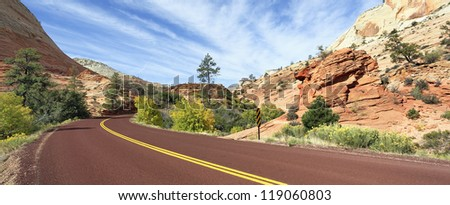 mountain road in Zion National Park in the fall - stock photo