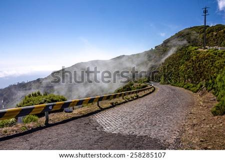 Mountain road, Madeira island, Portugal - stock photo