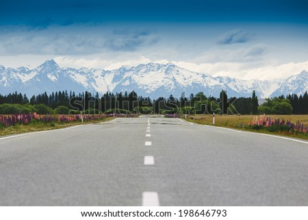 Mountain road. New Zealand  - stock photo