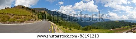 Mountain road panorama, Dichiu, Romania - stock photo