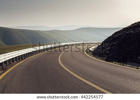 Mountain road / Transalpina highway, the highest road in Romania - stock photo