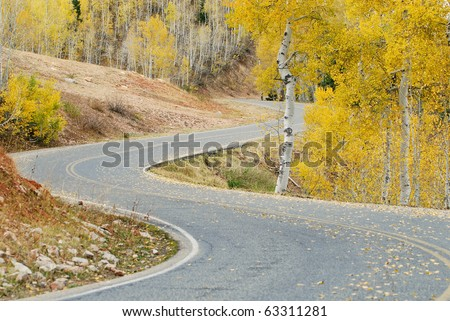 Mountain road with curves during autumn with yellow aspen trees. Nebo scenic loop drive in Utah. - stock photo