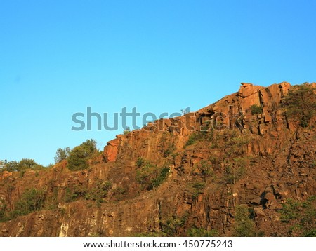Mountain Rock Formation - Famous Snake Hill mountain top rocky formation at Laurel Park in Secaucus, New Jersey. - stock photo