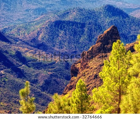 Mountain scapes from the island of Gran Canry, Spain - stock photo