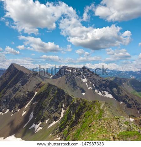 mountain scene caucasus russia - stock photo