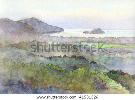 mountain scene watercolor - stock photo