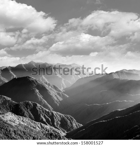 Mountain scenery in black and white, shot at Yushan National Park, Taiwan, Asia. - stock photo