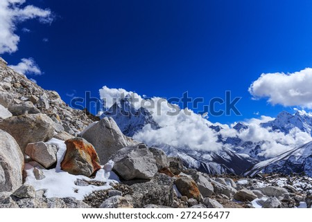 Mountain scenery in Himalaya, Nepal - stock photo