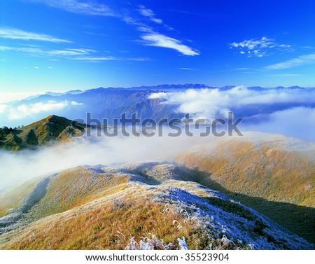 mountain scenic with beautiful flowing cloud  in Taiwan,asia. - stock photo