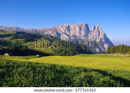 mountain Schlern in Alto Adige, italian Dolomites - stock photo