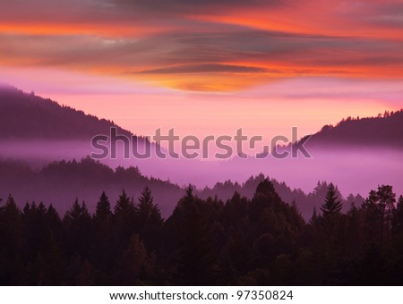 mountain silhouette - stock photo