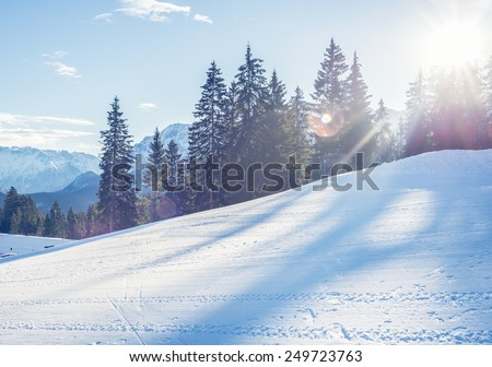 Mountain skiing slope in Garmisch-Partenkirchen resort in Bavarian Alps, Germany, in the day sunshine with fir-trees and mountain peaks at the backdrop on a clear winter day - stock photo