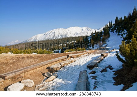 Mountain snowy landscape with path in Zakopane - stock photo