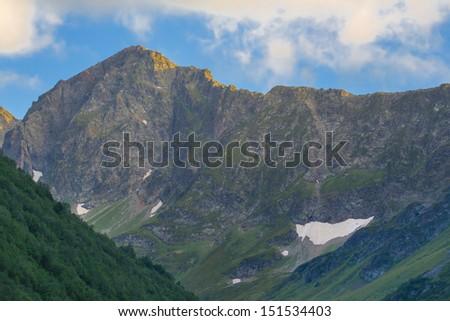 mountain stone wall - stock photo