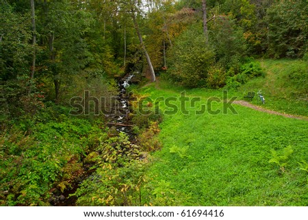 Mountain stream in forest in rainy day - stock photo