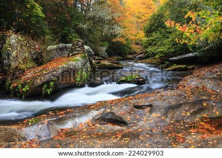 Mountain stream in the Blue Ridge Mountains of North Carolina in autumn. - stock photo