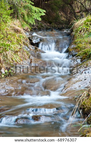 Mountain stream in the Carpathian Mountains - stock photo