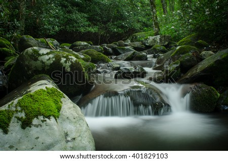 Mountain stream near the Appalachian Trail. - stock photo