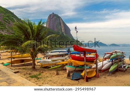 Mountain Sugar Loaf and Red beach in Rio de Janeiro. Brazil - stock photo