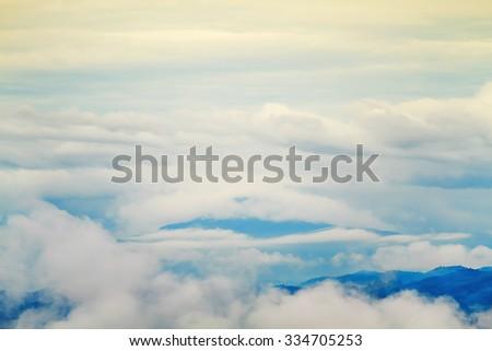 mountain, sunrise, selective focus, blur - stock photo