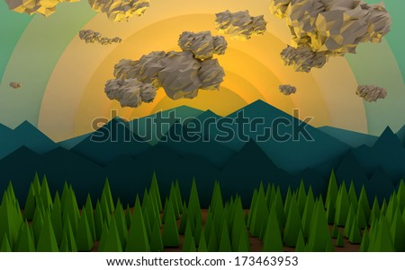 Mountain Sunrise with Clouds and Trees - stock photo
