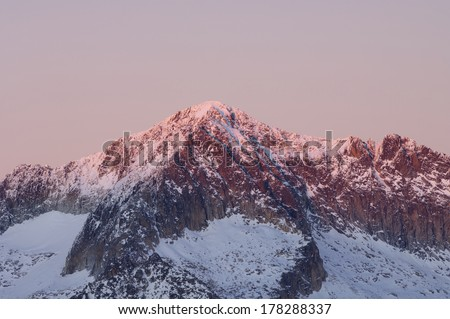 Mountain sunset in Aneto Peak, 3404 m., Posets Maladeta Natural Park, Huesca, Aragon, Pyrenees, Spain - stock photo