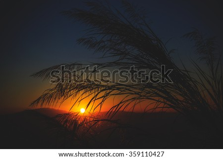 Mountain sunset vintage tone - stock photo