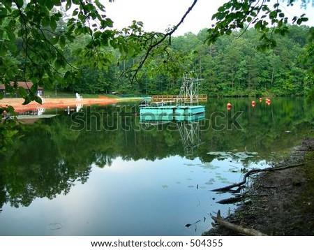 Mountain Swimming Lake - stock photo