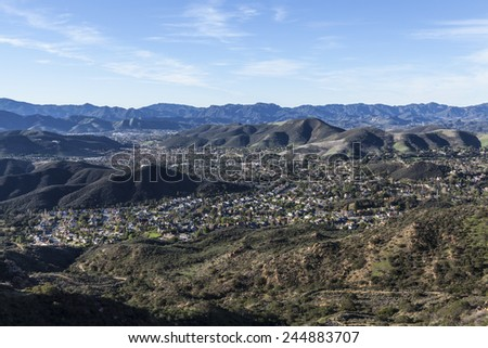 Mountain top view of the upscale Los Angeles suburb of Thousand Oaks in eastern Ventura County.   - stock photo