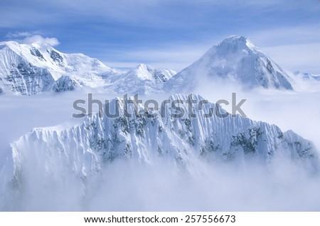 Mountain tops in St. Elias National Park and Preserve, Wrangell Mountains, Wrangell, Alaska  - stock photo