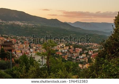 Mountain town - Lanusei (Sardinia, Italy) in the sunset - stock photo