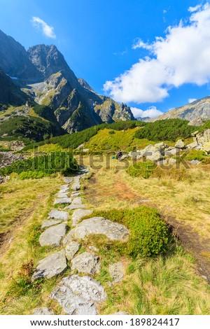 Mountain trail near Czarny Staw lake, High Tatry Mountains, Poland - stock photo
