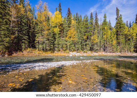 Mountain valley and beneaped river near the town of Banff. Rocky Mountains, Canada - stock photo
