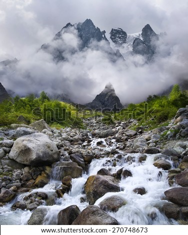 Mountain valley in the summer time. Beautiful summer landscape - stock photo