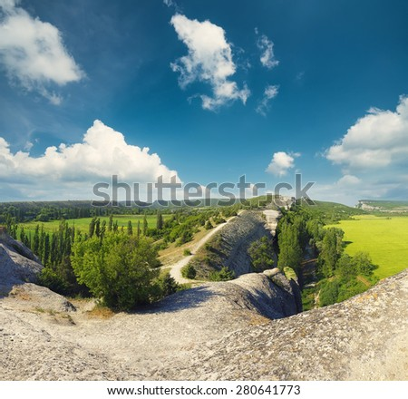 Mountain valley in the summer time. Natural landscape - stock photo