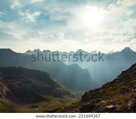 mountain valley scene - stock photo