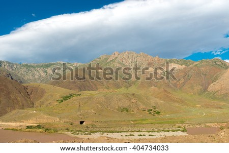 Mountain view at Aras river valley on Iran and Azerbaijan border - stock photo