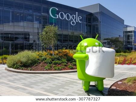MOUNTAIN VIEW, CA/USA - AUGUST 19: Android Marshmallow (latest android OS) replica in front of Google office on Aug 19, 2015. Google specializes in Internet related services and products. - stock photo